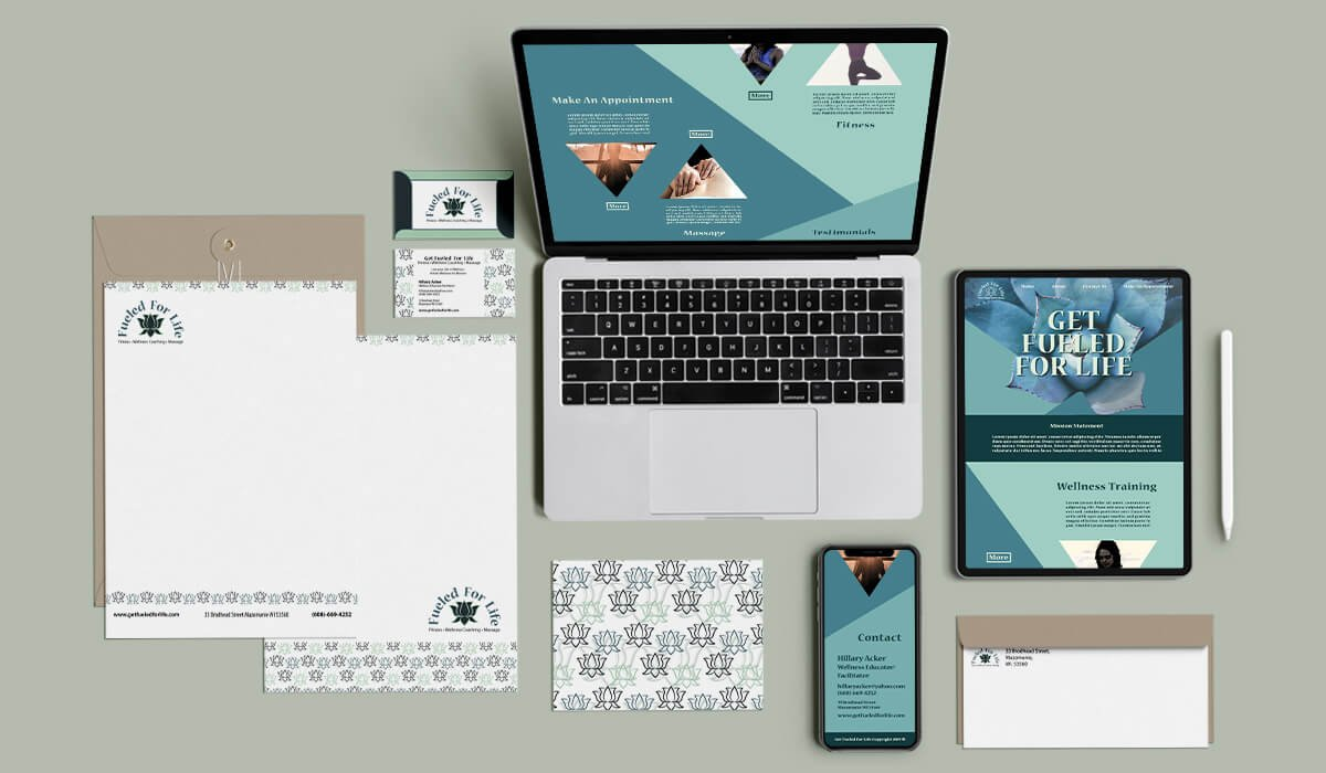 Fueled For Life rebrand work featuring website mockups and stationery paper branding