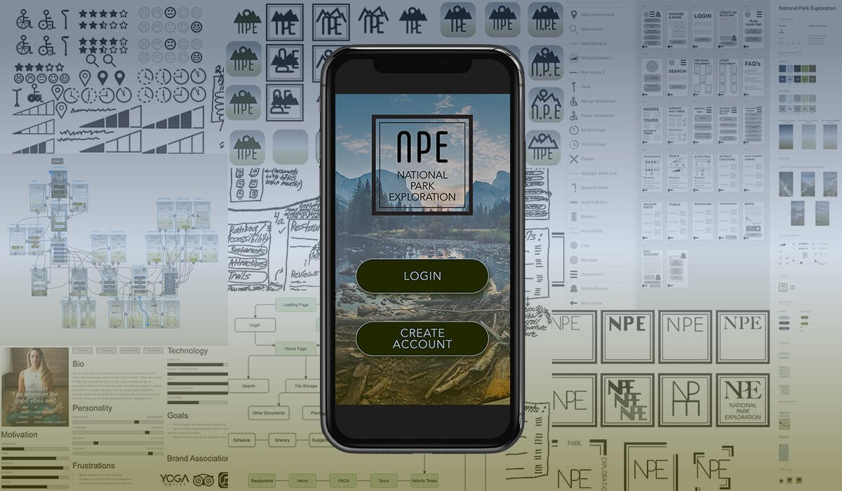 A screen with a National Park Exploration App look inside with User Experience and User Interface work in the background